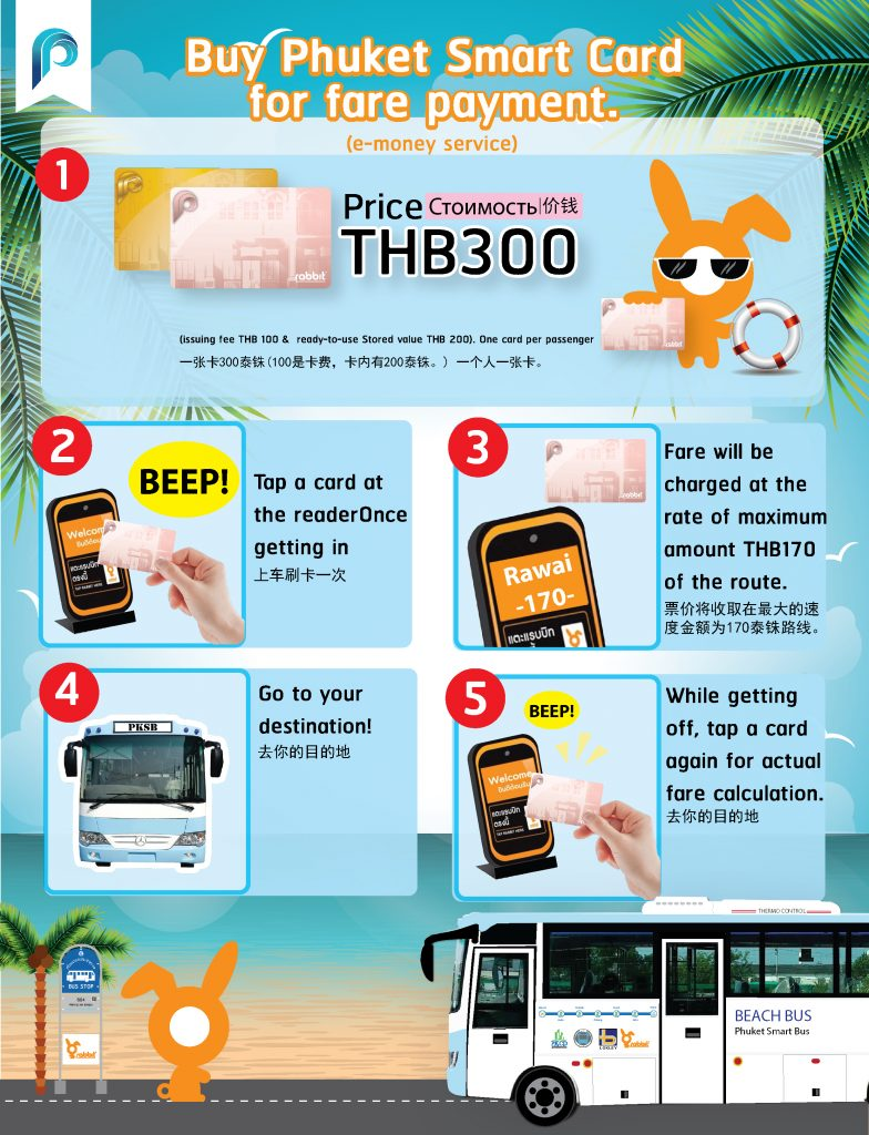 - Buy Phuket Smart Card for Fare Payment.